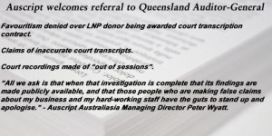 Auscript welcomes referral to Queensland Auditor-General