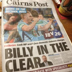 The Cairns Post - Billy In The Clear - June 18, 2015.