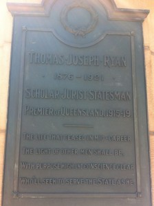 Plaque on the statue dedicated to Premier TJ Ryan.