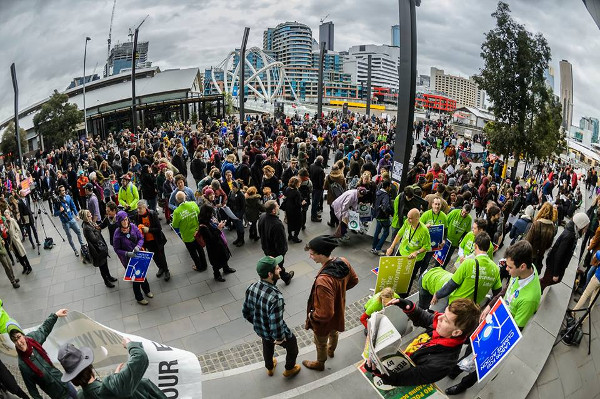Climate campaigners rally outside the ALP National Conference in Melbourne Photo: Sally Newell
