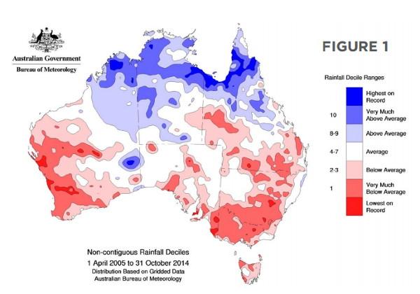 Australia's rainfall deficit over last decade. Source: BOM
