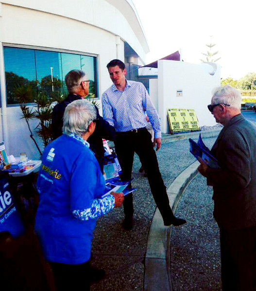Liberal candidate Andrew Hastie at pre-polling in Mandurah. Photo: John Pratt