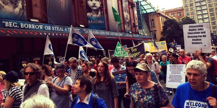 'Stand up for Refugees: End Detention Now' rally and march from Town Hall to Belmore Park. 11 Oct 2015