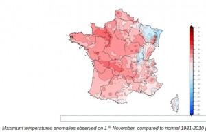 Halloween heat in France, Nov 1, 2015
