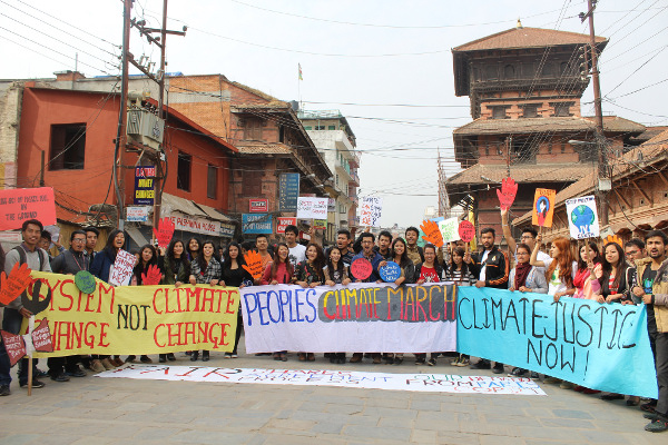 Hundreds gather on the streets of Kathmandu, Nepal, as part of the weekends #peoplesclimate rallies. Photo: 350.org