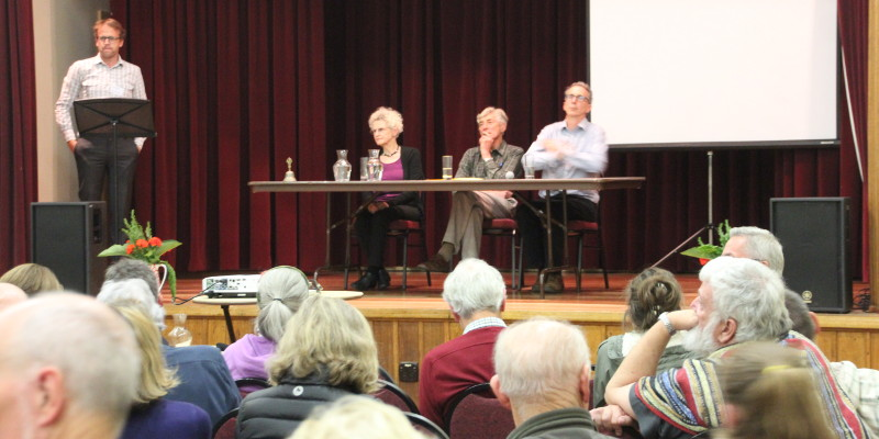 Panel speakers at Wonthaggi climate forum. Photo: John Englart