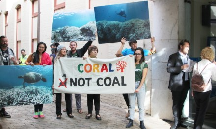 AYCC #CoralnotCoal protest during Indian Finance Minister visit reports @takvera