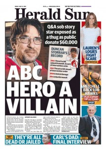 The Herald Sun - ABC Hero A Villain, May 13, 2016.