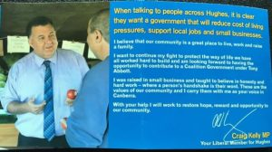 Conservative Liberal MP hands out flyers spruiking a 'government under Tony Abbott'.