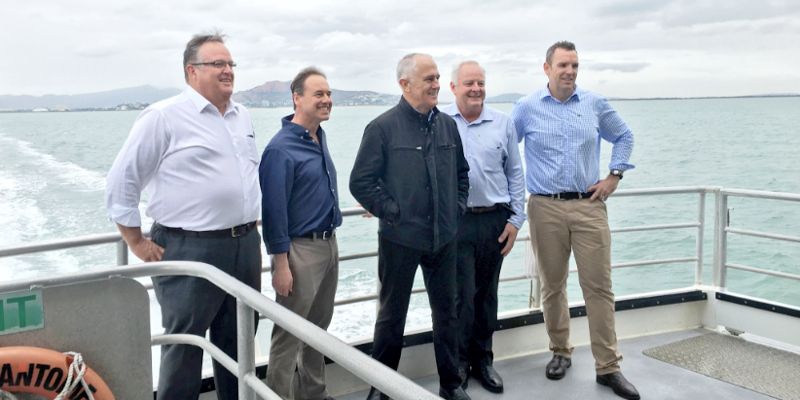 Herbert MP Ewen Jones with Malcolm Turnbull and Greg Hunt. Image credit: Greg Hunt/Twitter