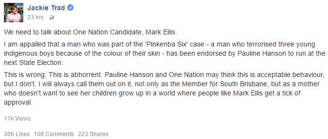 Qld Deputy Premier Jackie Trad responds to Mark Ellis.
