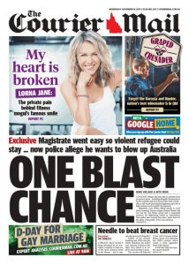 November 15, 2017 The Courier Mail - One Blast Chance