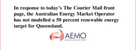 In response to today's The Courier Mail front page, the Australian Energy Market Operator has not modelled a 50 percent renewable energy target for Queensland.