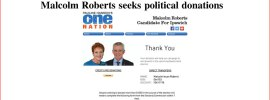 Malcolm Roberts seeks political donations