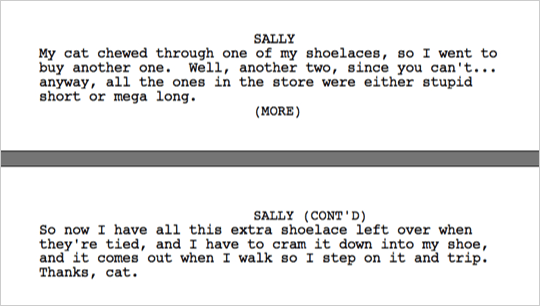 When to use 'MORE' and 'CONT'D' in Screenplays