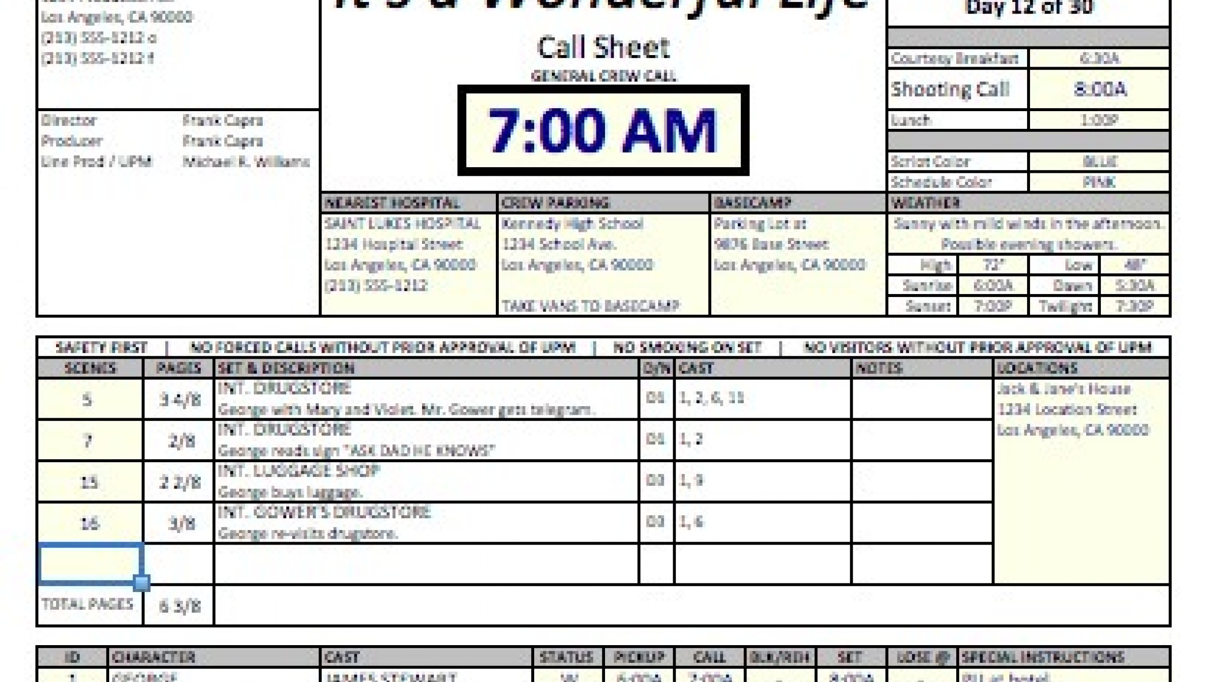 Casper' Spreadsheet Template Makes Call Sheets and Production ...