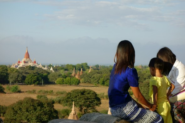 Bagan vista with locals looking out