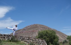 Guy doing martial arts with temple of the sun in background