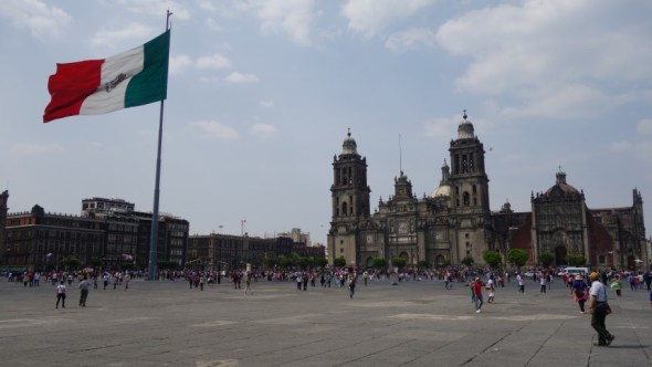 Large square with large mexican flag