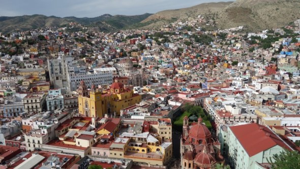 Guanajuato as seen from cliffs overlooking the town