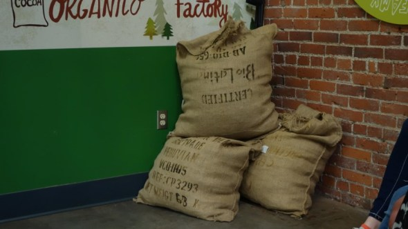 Sacks of cocoa nuts