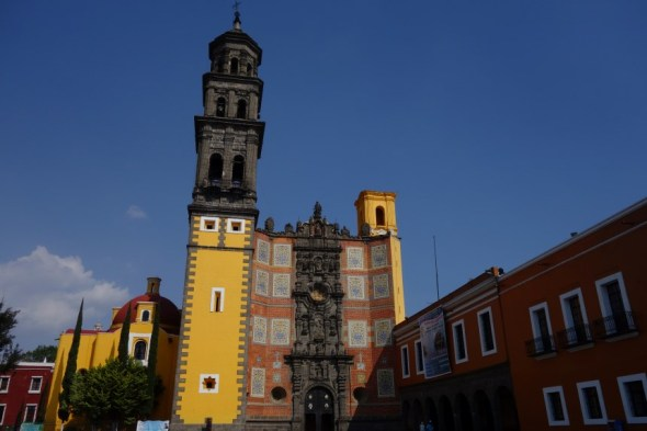 One of many pretty churches in Puebla