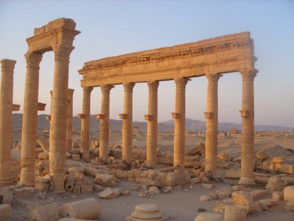 ruins of columns at Palmyra
