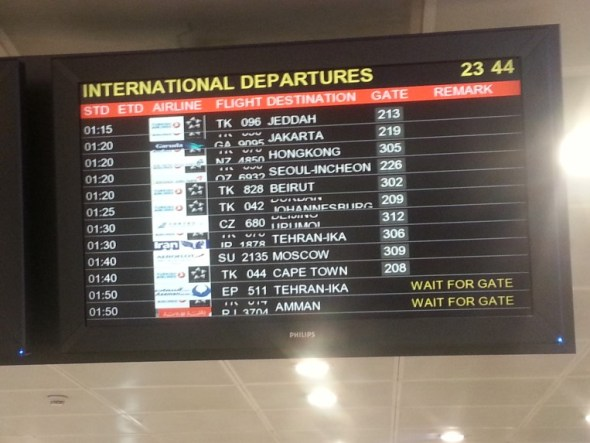 Istanbul departure board