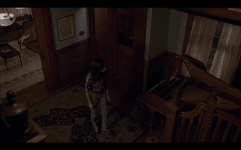 A girl stands in the middle of a large living room in an old house.