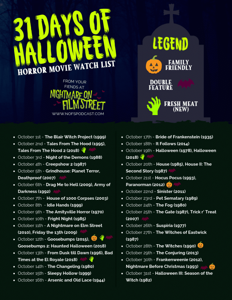 31 days of halloween 2018 – horror movie marathon list [printable
