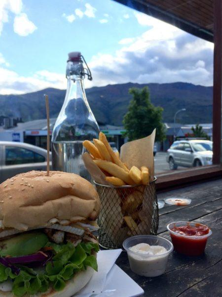 Burger and fries, Red Star Burger Bar, Wanaka, Otago, New Zealand