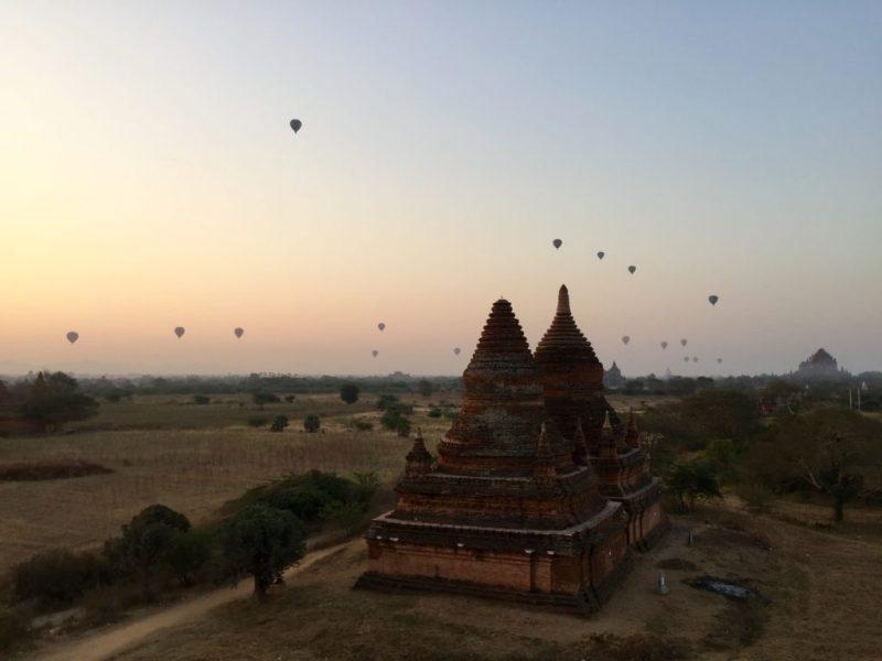 Hot air balloons in the air, Bagan, Myanmar (Burma)