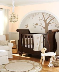English-style-baby-room-with-wooden-crib