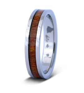 thin koa titanium ring