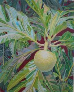 """Breadfruit on Atherton st."" Original watercolor 21 x 17"" Fabienne Blanc"