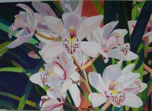 """""""Dendrobium on Pink"""", 38"""" x 50"""" original watercolor by Fabienne Blanc"""