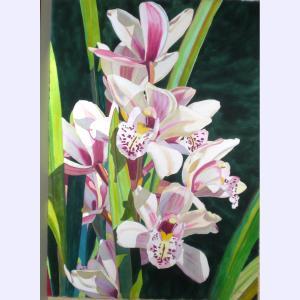 """Cymbidium, watercolor by Fabienne Blanc, 41 x 29"""" unframed"""