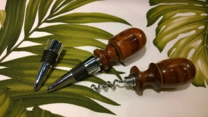 Koa wine cork and corkscrews