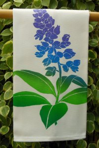 blue ginger kitchen towel by Janet Holaday, made in Hawaii