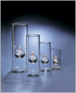 "Wolfard glass lamps, 15', 12"", 9"" & 6"""