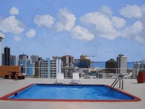 Pool Over Makiki original Brenda Cablayan 30 x 40
