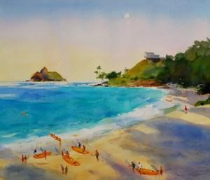 Mark Norseth Original Watercolor Kayaks at Kailua Beach