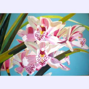 Fabienne Blanc original watercolor Pink Orchids Pale Blue Background 29 x 41 unframed