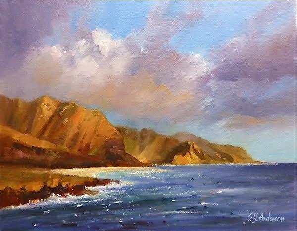Susie Anderson original oil painting Yokohama Sunset 14 x 18