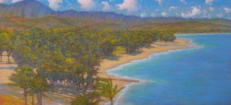 Russell Lowrey Kailua Beach from Lanikai giclee on canvas 36 x 78