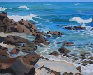 Brenda Cablayan original painting Rocky Shore 24 x 36
