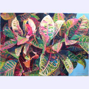 Fabienne Blanc original watercolor Croton Leaves in Pinks and Greens 29.5 x 41
