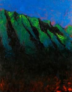 Ko'olau Night original oil on wood panel Robert McGuire artist