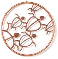 Hawaiian Honu Circle Petroglyph design in copper