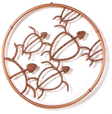 Hawaiian Honu Circle Petroglyph design in copper